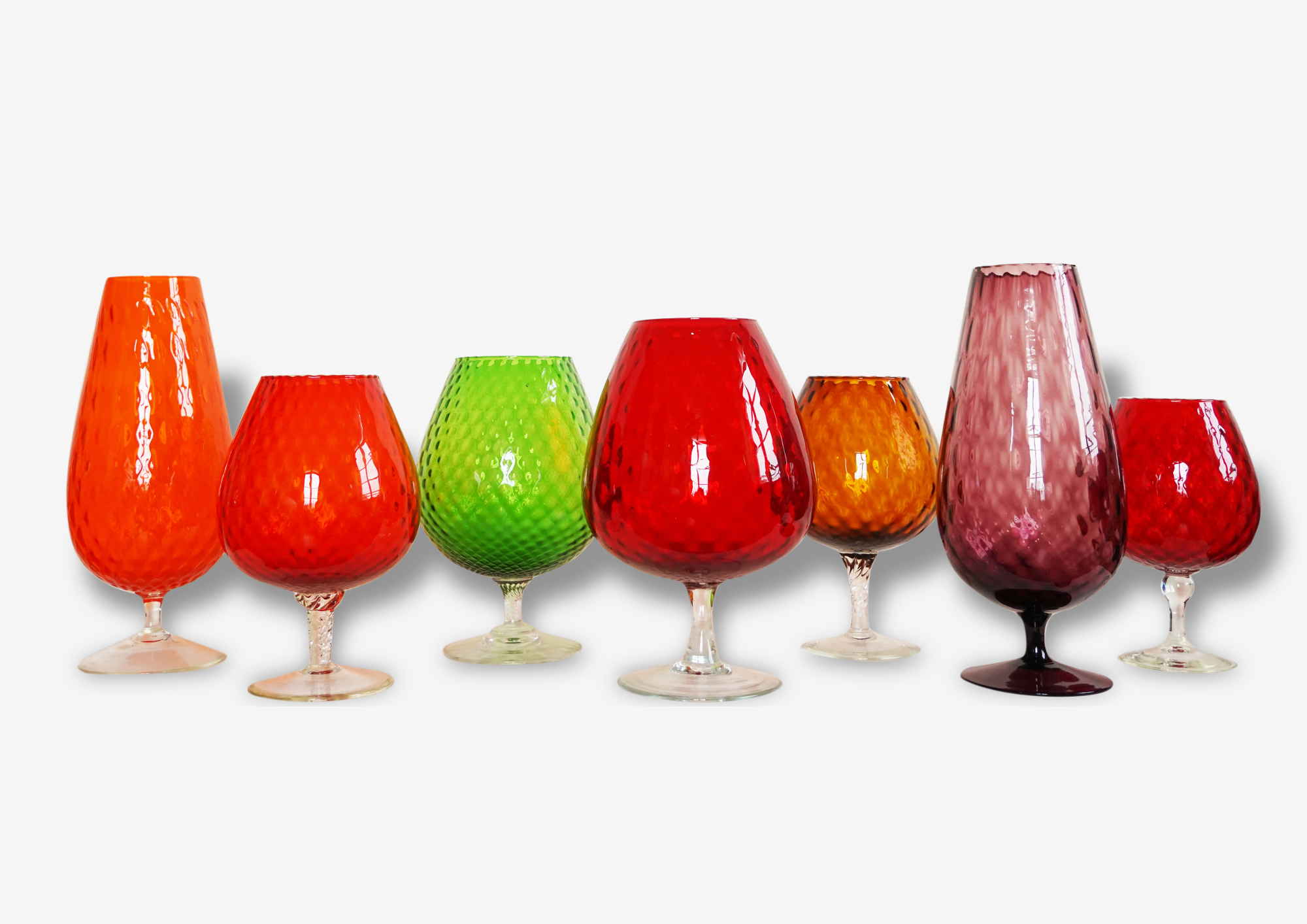 Grands vases verreries Italienne Empoli vintage