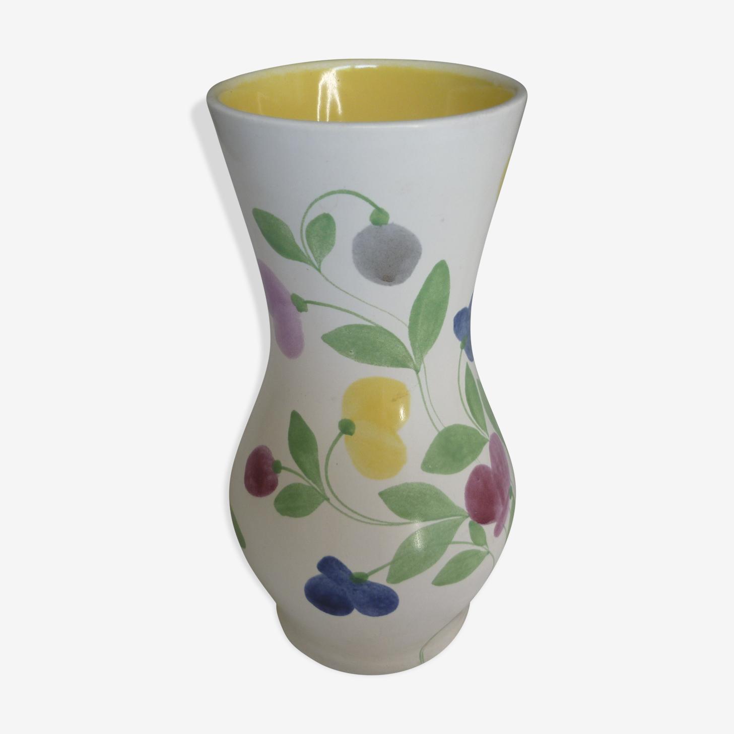 Vase vintage earthenware of St Clement decor flowers