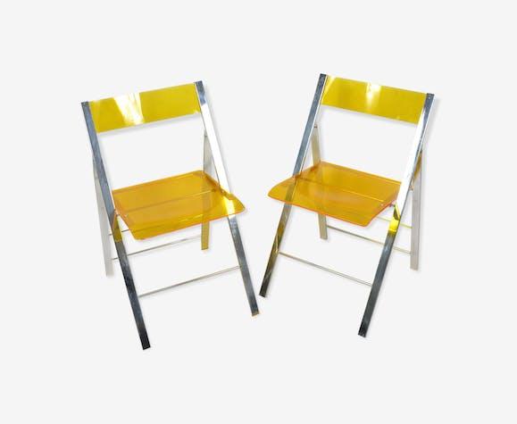 Paire de chaises acryliques pliantes Milden LeisureMod USA 90s