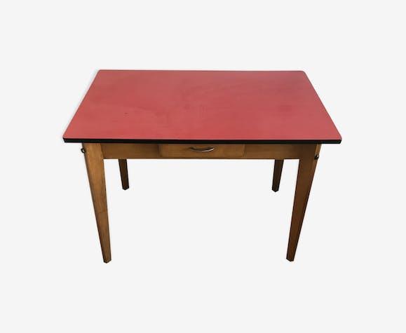 Table bureau formica rouge et bois bois matériau bois couleur