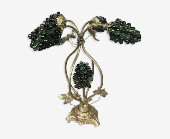 lampe en bronze et laiton d cor de feuilles de vigne avec grappes de raisin laiton dor. Black Bedroom Furniture Sets. Home Design Ideas
