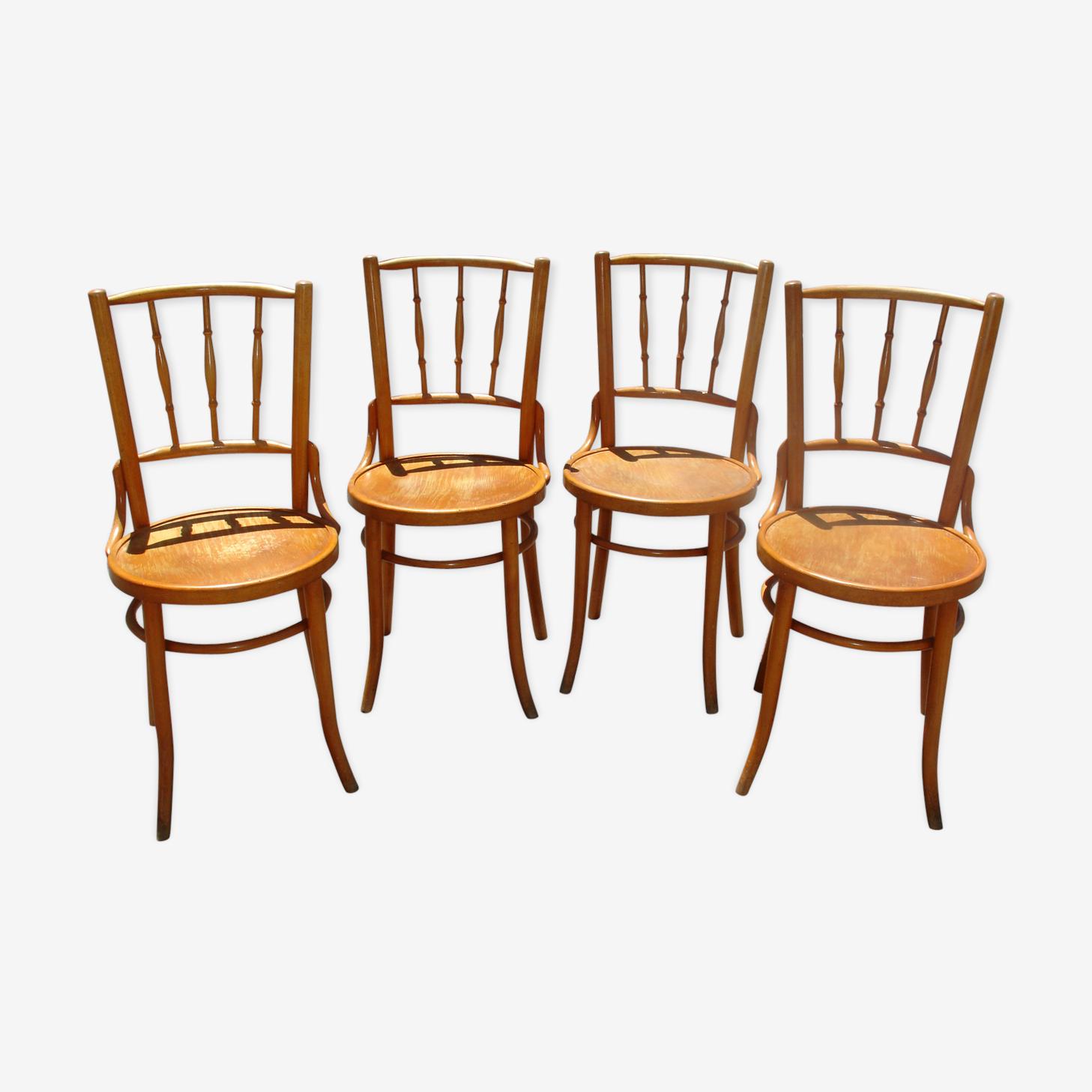 Série de 4 chaises de bistrot en hêtre naturel vers 1920