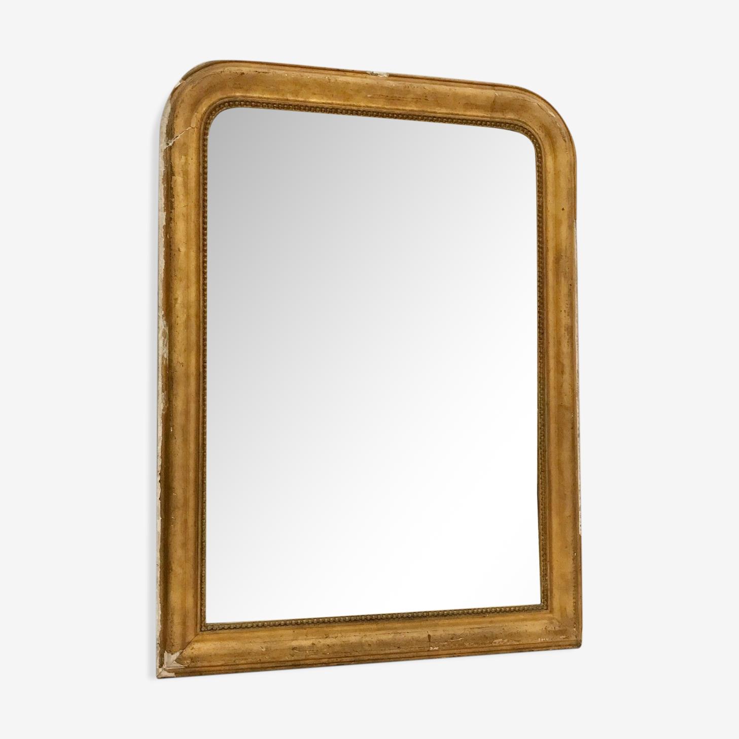 Miroir Louis Philippe en bois et stuc doré 87x117cm