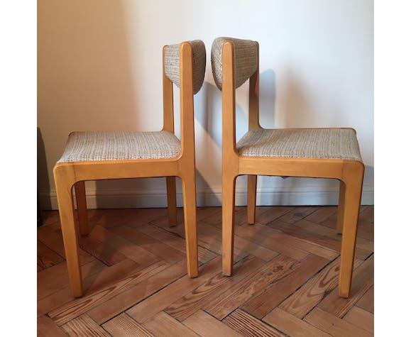 Lot de 4 chaises années 60 en hêtre et tissu type tweed beige