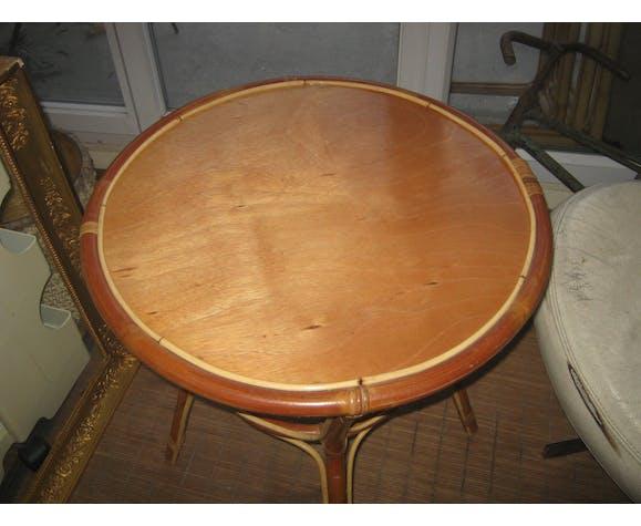 Table basse rotin des années 60