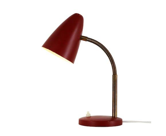 Lampe de bureau couleur bordeaux des années 60
