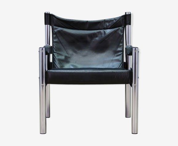 Fauteuil vintage design scandinave en cuir