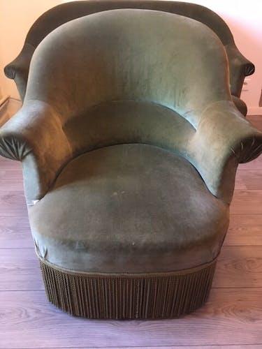 Ensemble de salon canapé et fauteuils crapaud vintage