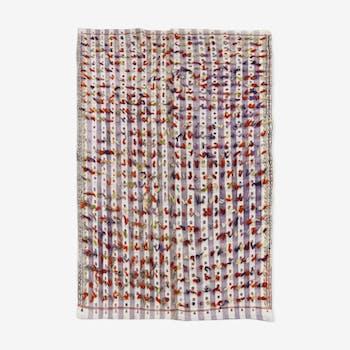 Vintage anatolian kilim rug with pomps 237 cm x 170 cm