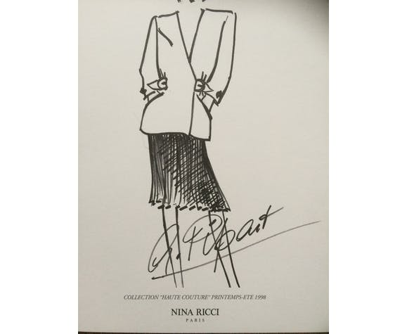 Illustration Nina Ricci tirage dessin croquis de mode de presse époque fin des années 90