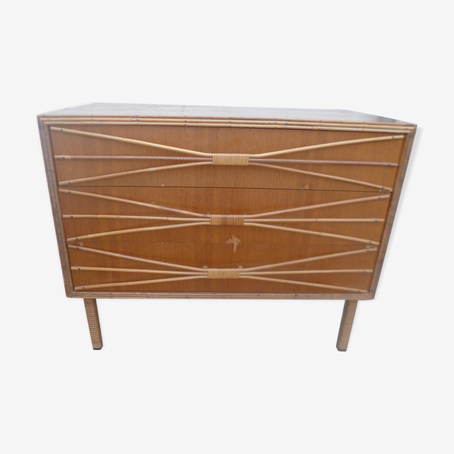 Vintage rattan wicker dresser 1960