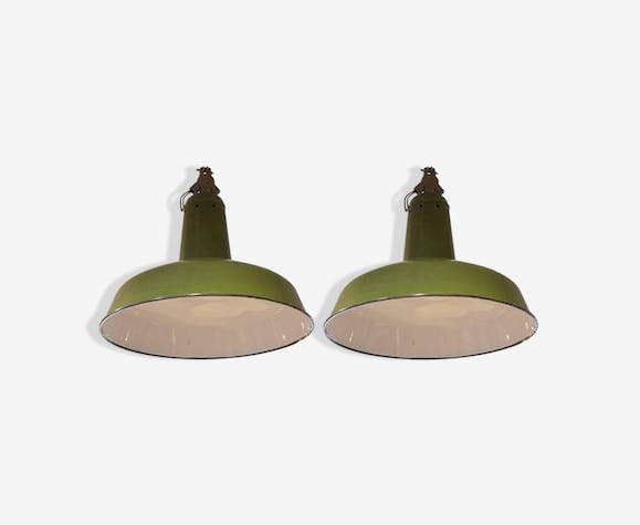 Pair of industrial french steel 1950 Lampshade