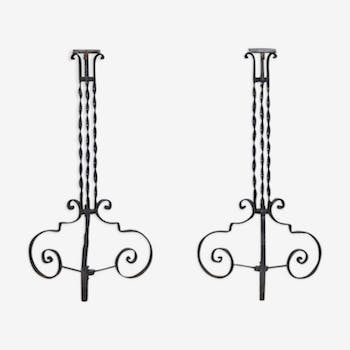 Pair of antique wrought iron plant stands
