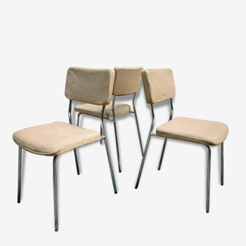3 chairs Dietiker sixties chrome and wool Japan