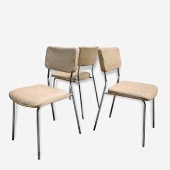 3 chaises Dietiker années 60 chrome et laine chinée