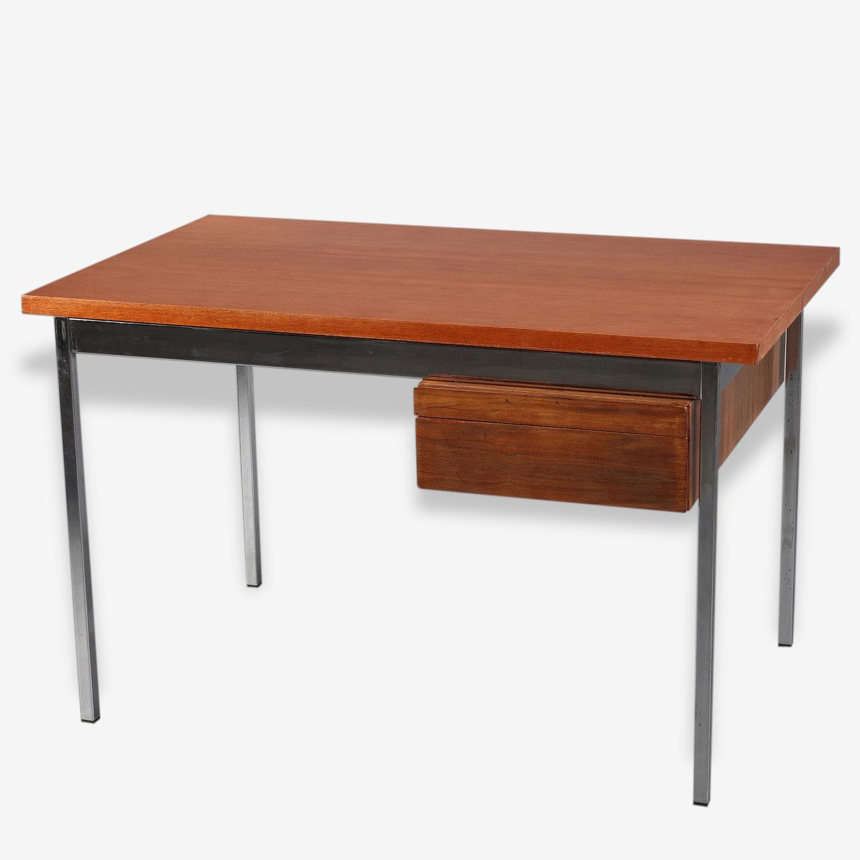 Bureau Florence Knoll en bois et métal chromé
