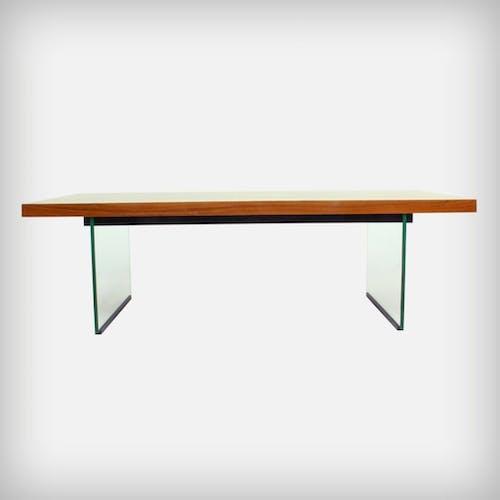Very rare glass & walnut coffee table, 1950