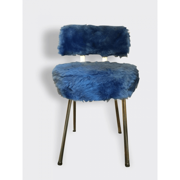 chaise fauteuil moumoute bleu pervenche bois mat riau bleu bon tat vintage 5060. Black Bedroom Furniture Sets. Home Design Ideas