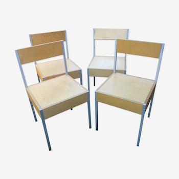 Série de 4 chaises suisse 1980