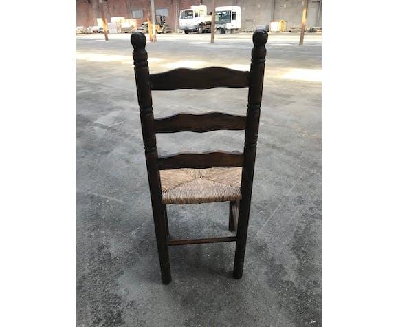 Suite de 4 chaises rustique paillées