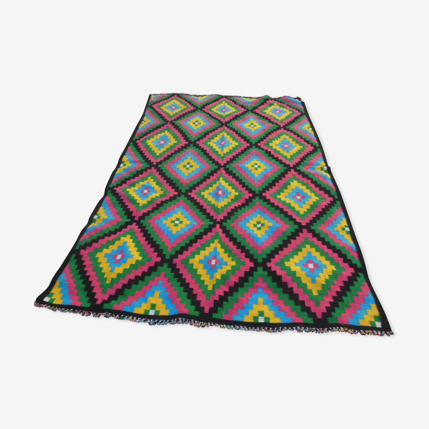 Grand tapis vintage, pure laine tissée, type kilim, 260x148cm