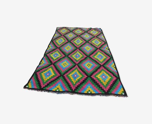 Large vintage carpet, pure woven wool, kilim type, 260x148cm