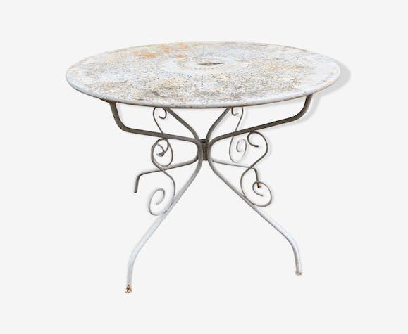 Table en fer forgé de jardin ronde - fer - blanc - classique - HJ5WmnT