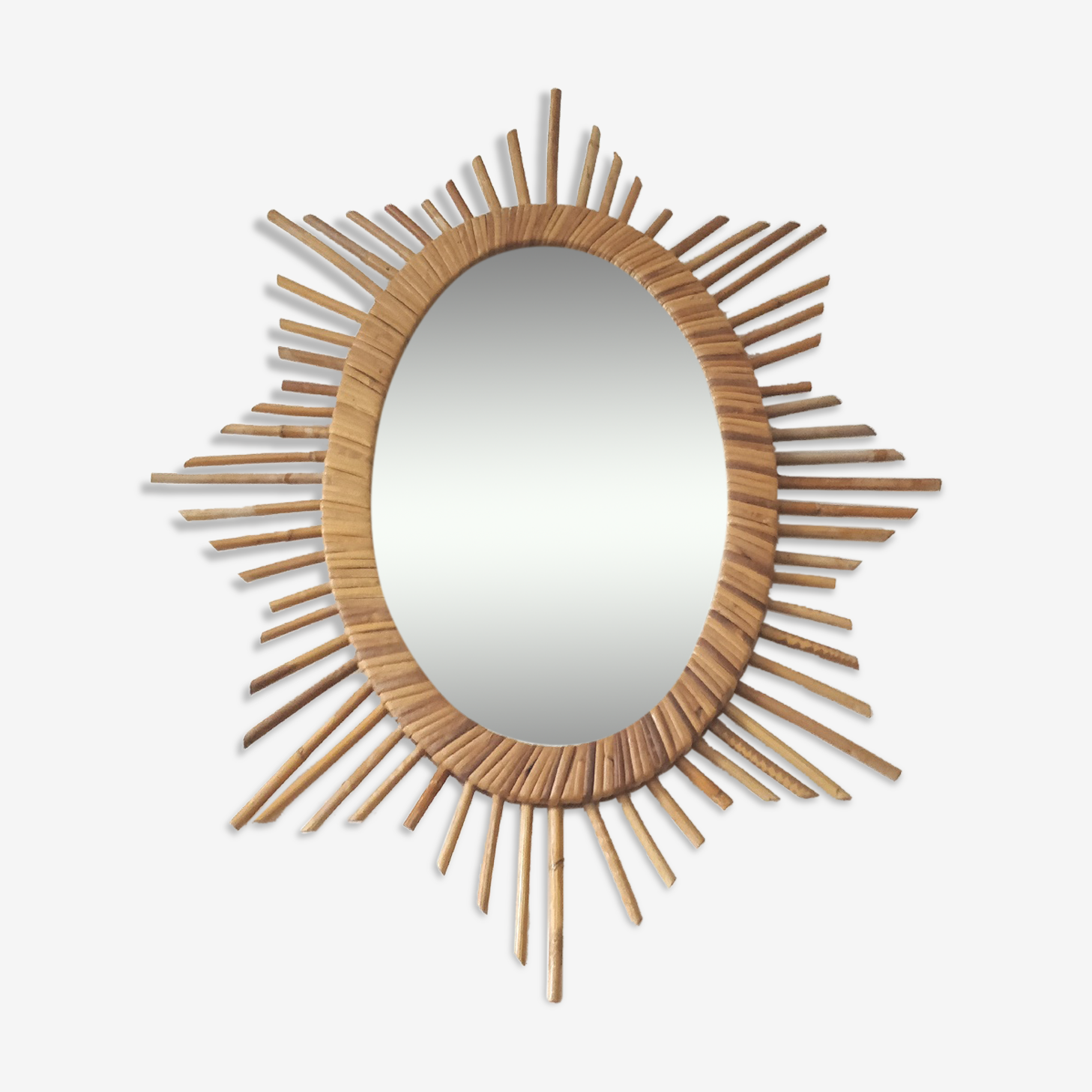 Miroir soleil ovale en rotin 50x64cm