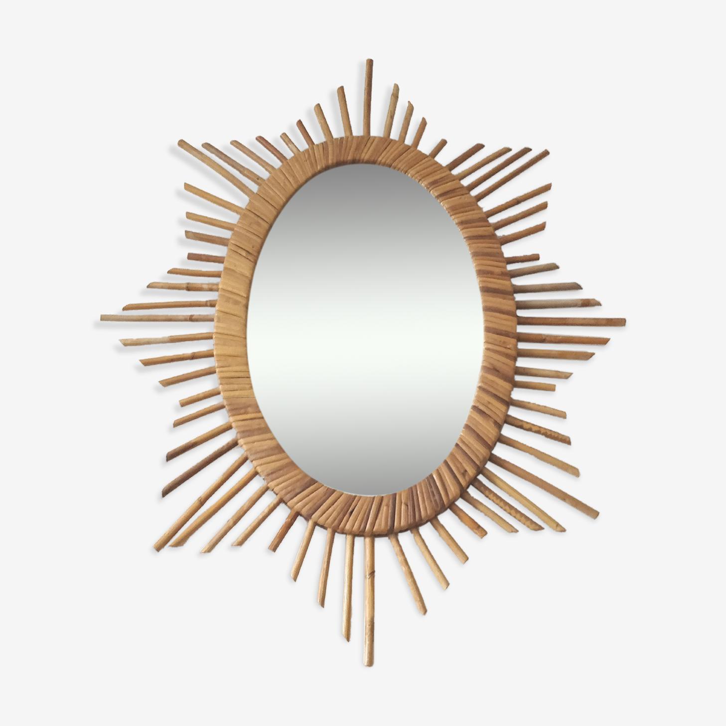 Oval rattan sun mirror 50x64cm