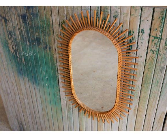 Vintage rattan mirror 42x64cm