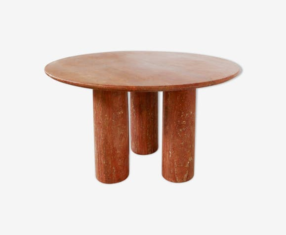 Red Travertine Table Il Colonnato By Mario Bellini For