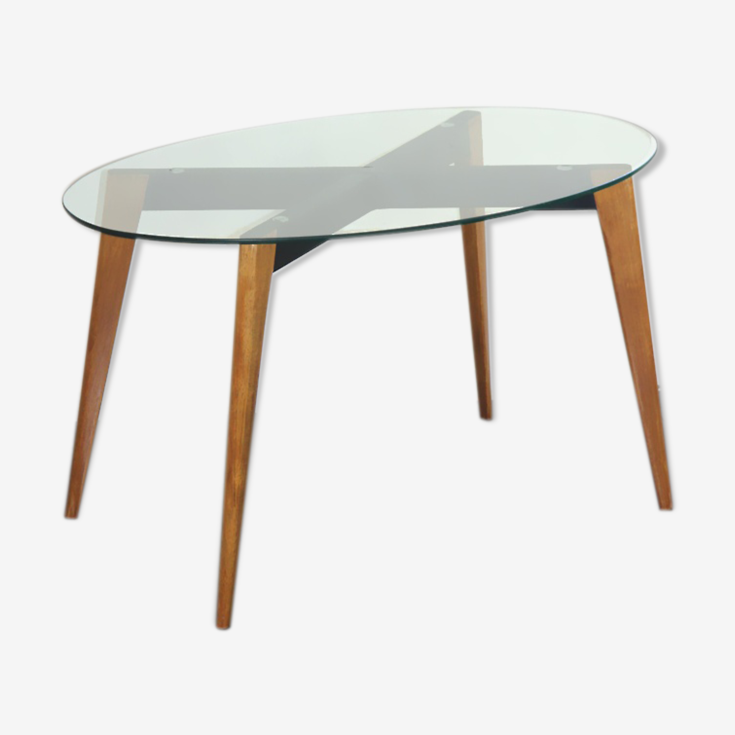 Wooden and glass oval coffee table