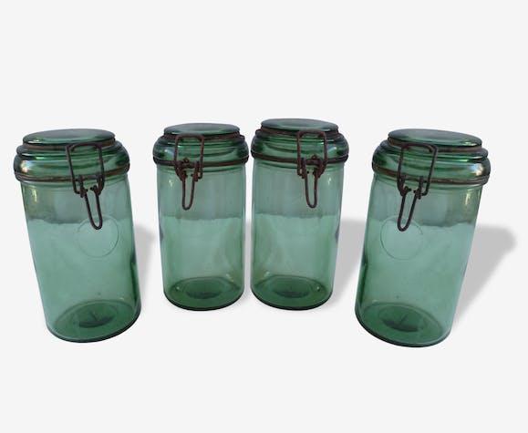 4 bocaux 1 Litre Durfor vert bouteille vers années 1950
