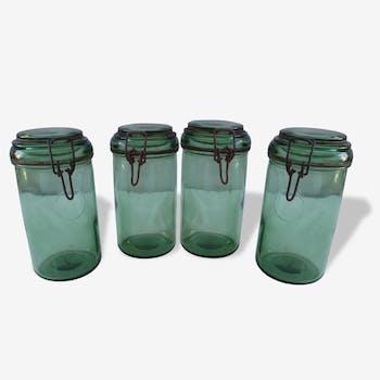4 jars 1 liter bottle green Durfor to 1950s
