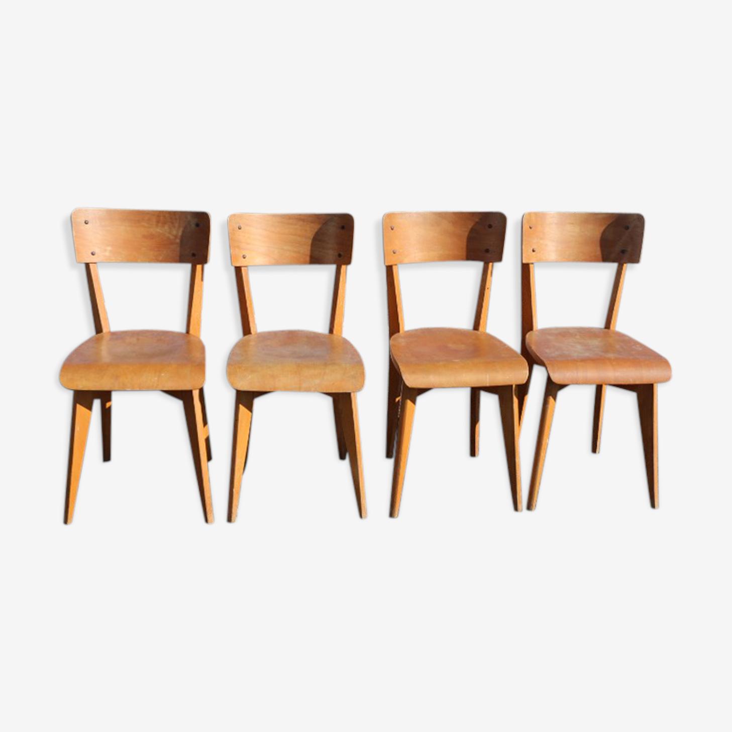4 chaises 1950 bois hêtre clair