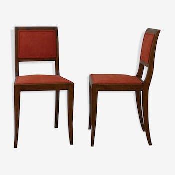 2 chaises vintage velours orange - entièrement restaurées