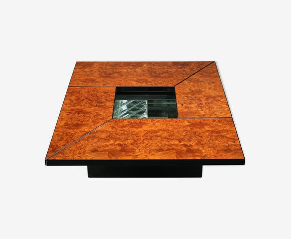 Coffee table in magnifying glass of elm by Paul Michel