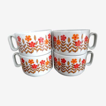 Set of 4 cups breakfast 70 year
