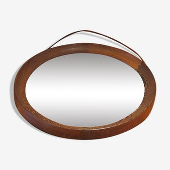 Circular Wall Hanging Mirror in Wenge by Uno & Osten Kristiansson 40cm