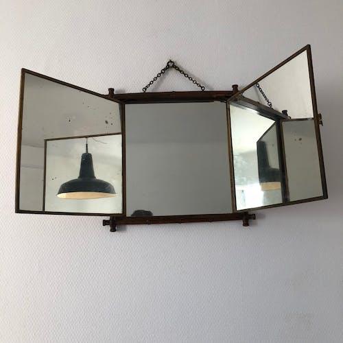 Miroir triptyque japonisant vintage 1900 -  64x34
