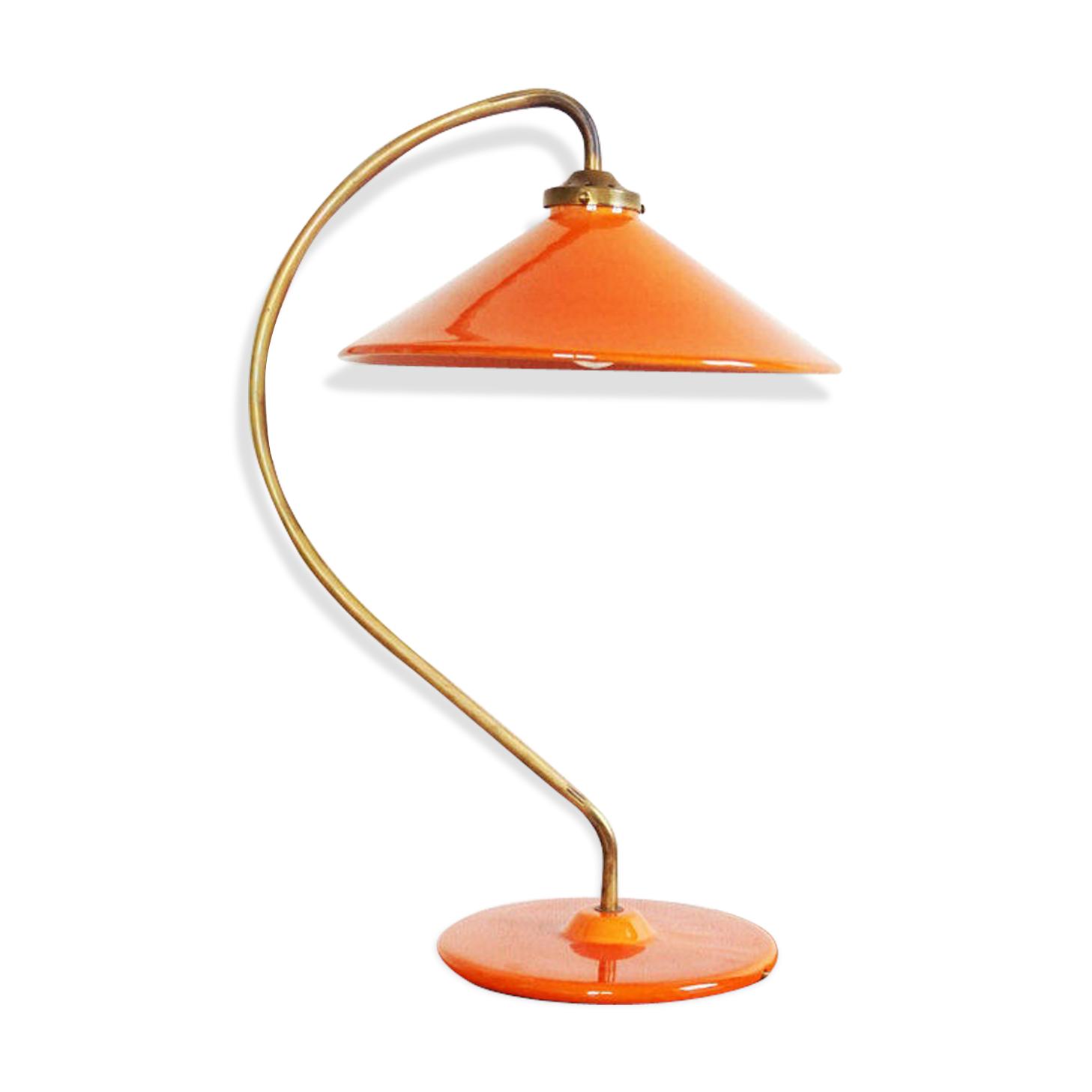 Lampe céramique française orange et laiton Terre D'Hautaniboul
