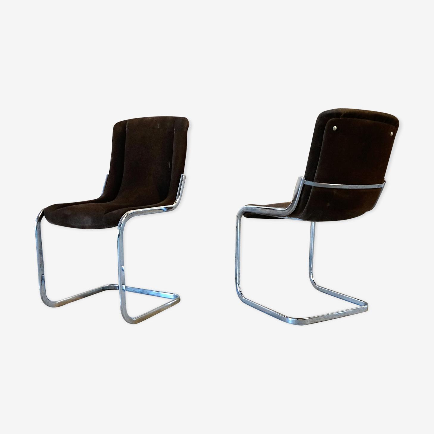 Paire de chaises chrome et tissu 70's