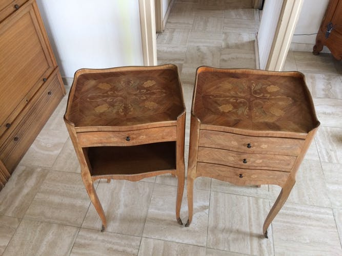 Lot of 2 bedside tables style Louis XV
