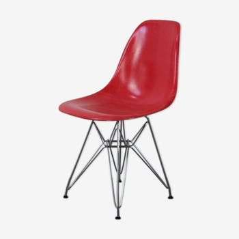 Chaise Dsr rouge Eames Herman Miller vintage eiffel base chromée