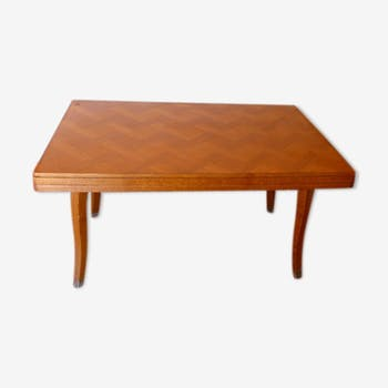Dining room, rectangular table in light wood inlaid vintage 1960, Design and trend
