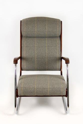 Bauhaus Cantilever Armchair in Checkered Grey Fabric, 1940s