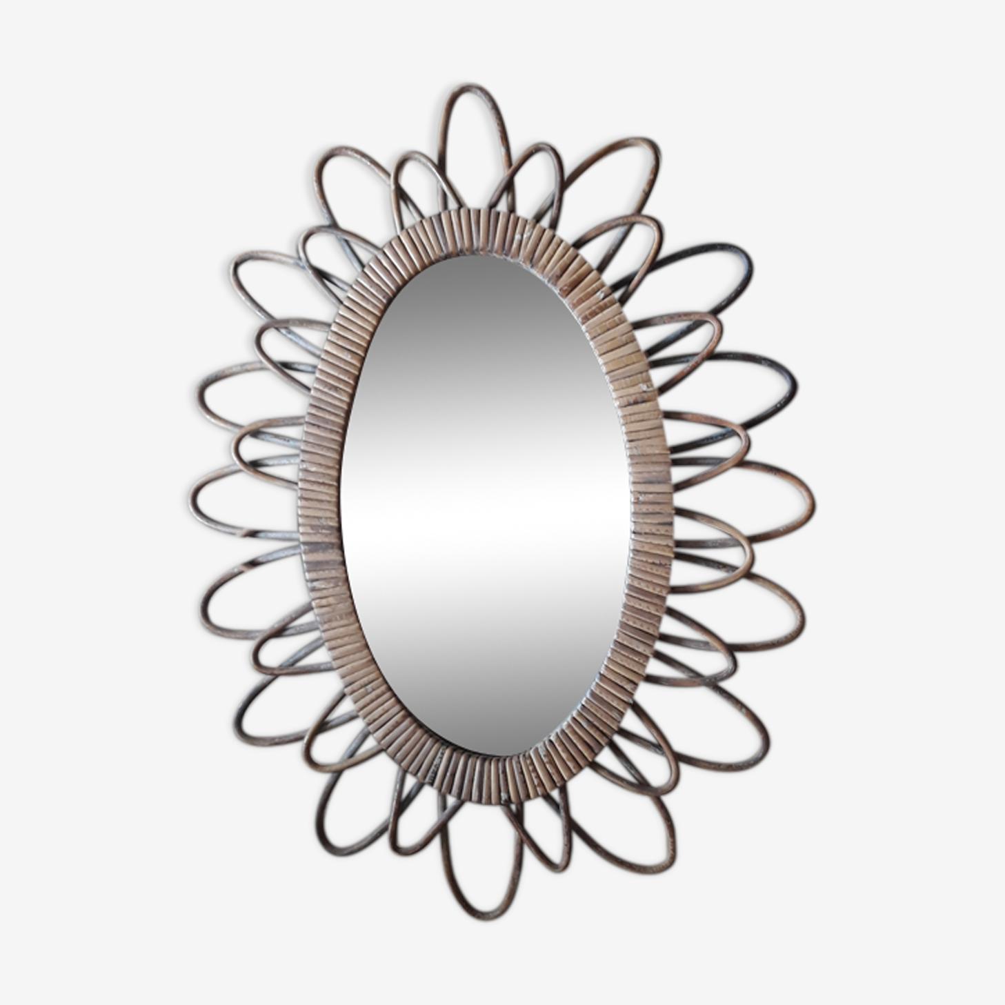Miroir en rotin vintage 45x59cm