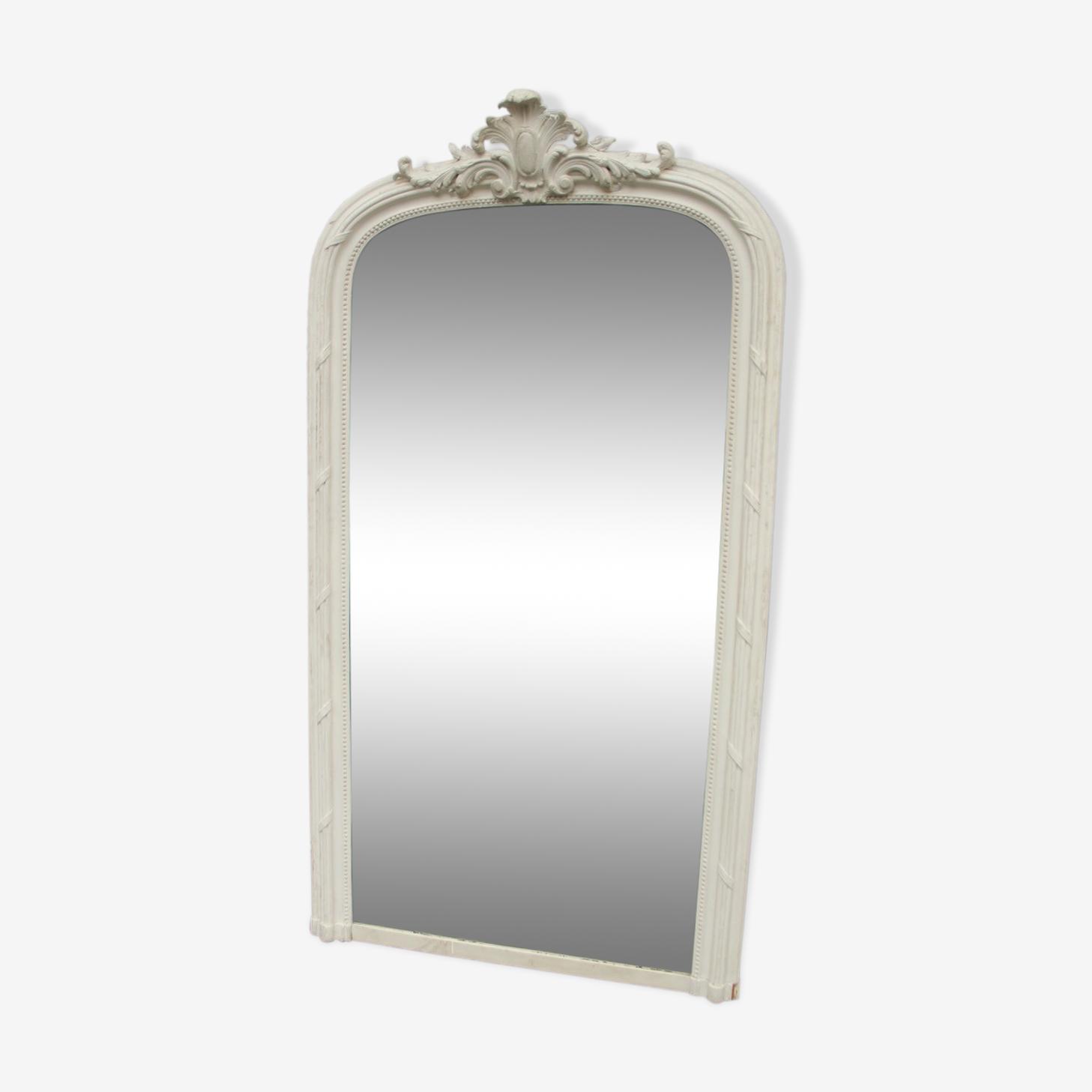 Miroir trumeau, bois patiné blanc début 1900 - 100x185cm
