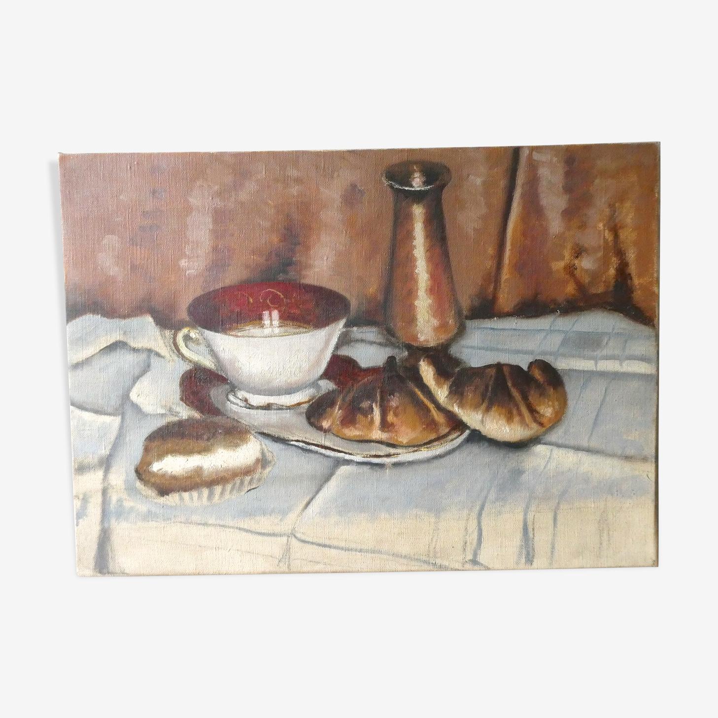 Peinture huile sur toile, nature morte, milieu XXème
