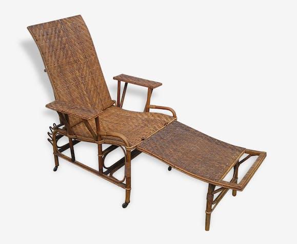 Chaise Longue Pliante En Rotin Osier Ancienne Vintage